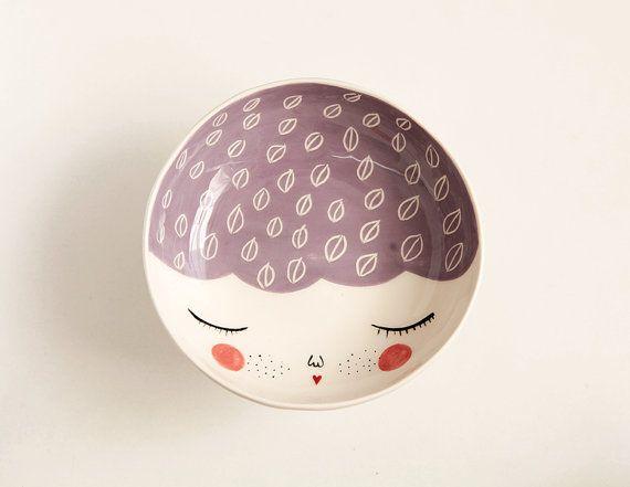 Bol en céramique de caractère  violet qui par MarinskiHandmades, $35.00