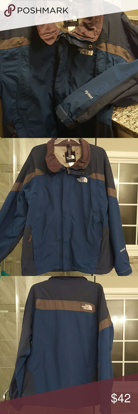 Men's North Face jacket HyVent royal blue, navy, and grey jacket. There are 4 pockets on the front. It's in great condition, but on the inside lining there is some wear as shown in 4th picture. North Face Jackets & Coats