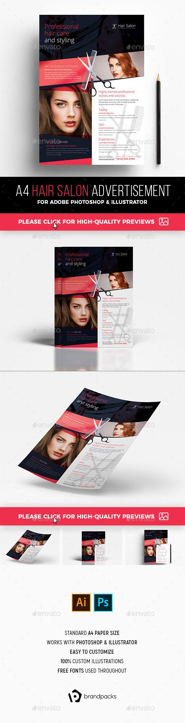 #Hair Salon Advertisement Template - #Commerce #Flyers