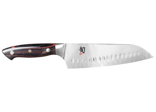 Shun Reserve ND0718 Hollow-Ground Santoku Knife, 7-Inch by Kershaw. $249.95. The perfect complement of japanese precision cutting blades with the strength and perfectly balanced weight of a western-style knife. Weightier blade for precision cutting; full tang construction; riveted handle; inlaid mosaic crest; charcoal pakkawood with crimson striations. Features ultra-premium sg-2 micro carbide steel cutting core offering the highest level of performance; holding...