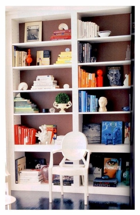 paint the back of a bookcase an accent color