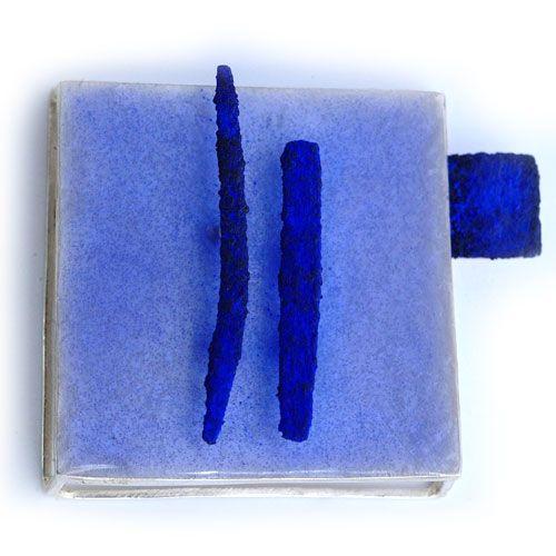 "Susanna Baldacci ""azzurra"" spilla - argento, resina, pigmenti, acciaio:"