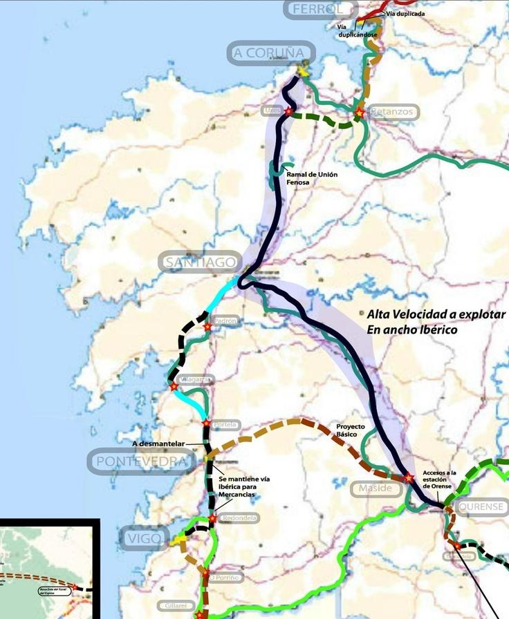 Estado del eje atlántico de Alta Velocidad en Galicia a fecha de mayo de 2012