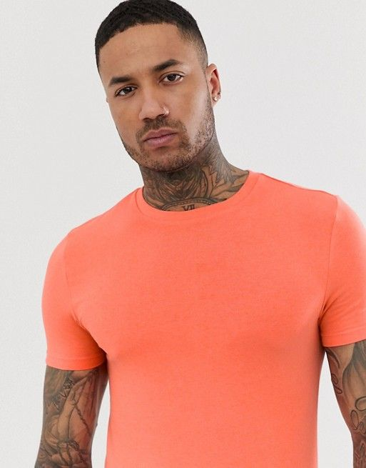 c3f11bb0afb8 ASOS DESIGN organic muscle fit with stretch t-shirt with crew neck in coral  | ASOS