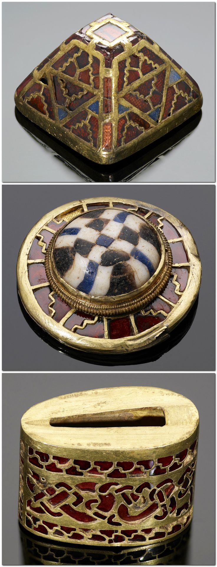 Anglo-Saxon (7th-8th century) garnet, millefiori glass and gold cloisonne sword fittings from the Staffordshire Hoard, found in a field in 2009.