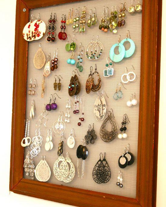 Framed Earring Organizer | 32 DIY Storage Ideas for Small Spaces | DIY Organization Ideas for Small Spaces