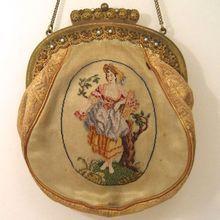 Enchanting Petit Point Purse Figural Girl with Flower Basket Ornate Filagree Frame