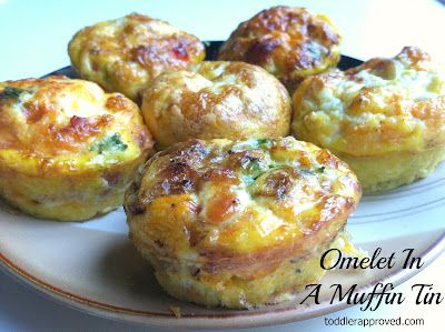 Toddler Approved!: Cooking With Mom: Omelets in a Muffin Tin  Oven- 350 10-12 min  best to fill the muffin tins with your mix ins first then add egg and bake