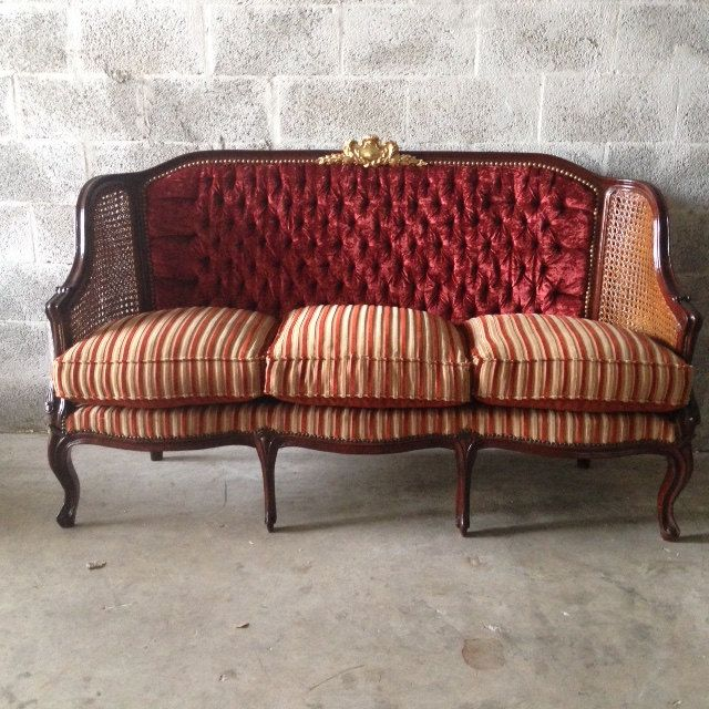Antique French Louis Xvi Cane Sofa Settee Couch Baroque Rococo Tufted Chair Bergere Fauteuils