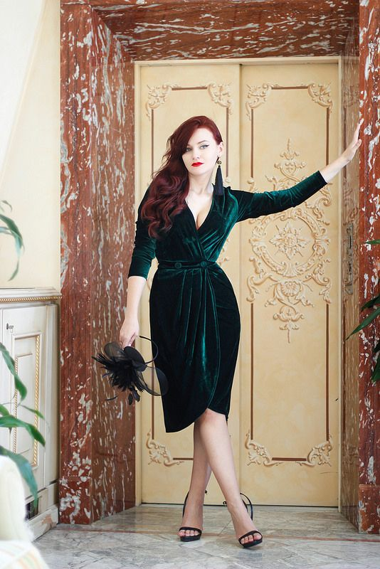 Emerald green velvet dress