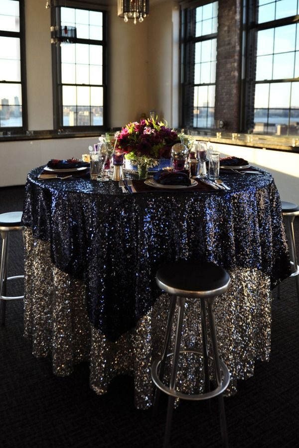 glam table setting black sequin cloth over blue very Hollywood vintage