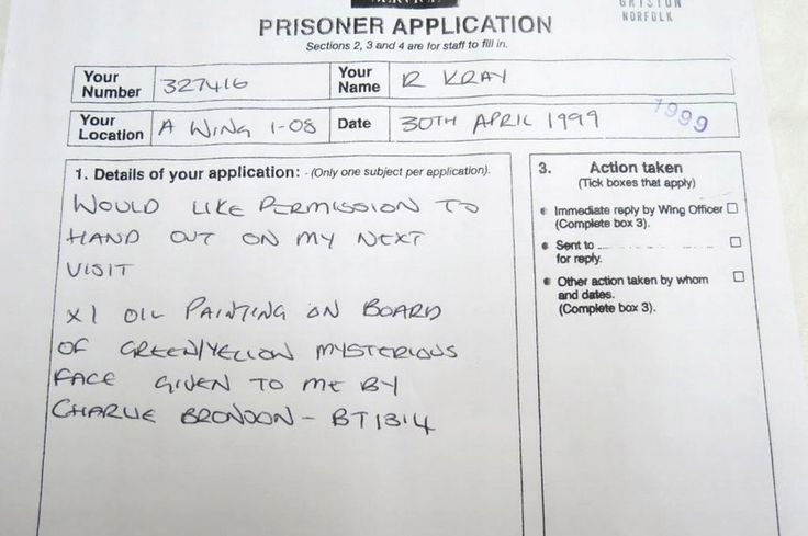 Prison documentation relating to Reggie Kray asking to hand out a painting by Charles Bronson to an acquaintance and is up for auction