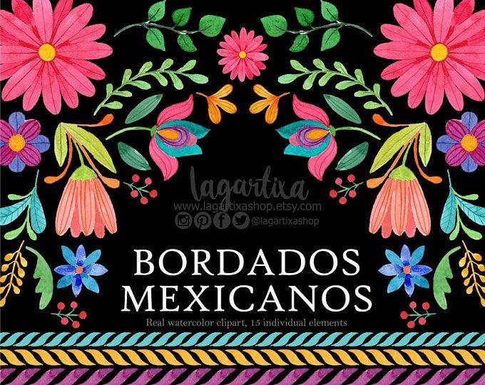 Flores Mexicanas, Folklórico, Otomí, Artesanías, Mexico, típico, Clip art Acuarela clipart, PNG, México, flores para fiesta, estilo mexicano