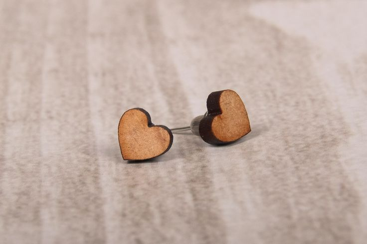 Wooden Laser Cut Heart Earrings made in South Africa