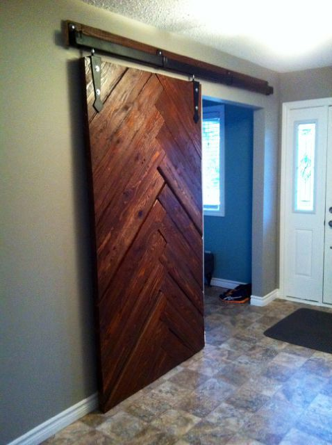 reclaimed cedar herringbone barn door  Barn Doors in 2019