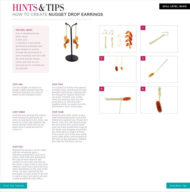 Learn how to create Nugget Drop Earrings with this easy to follow jewellery making tutorial.