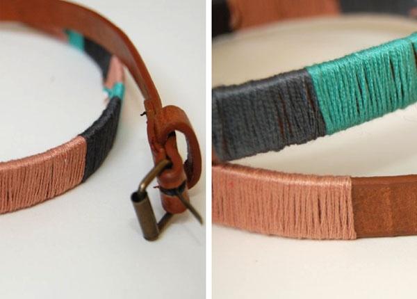DIY: Cinto decorado com linhas coloridas