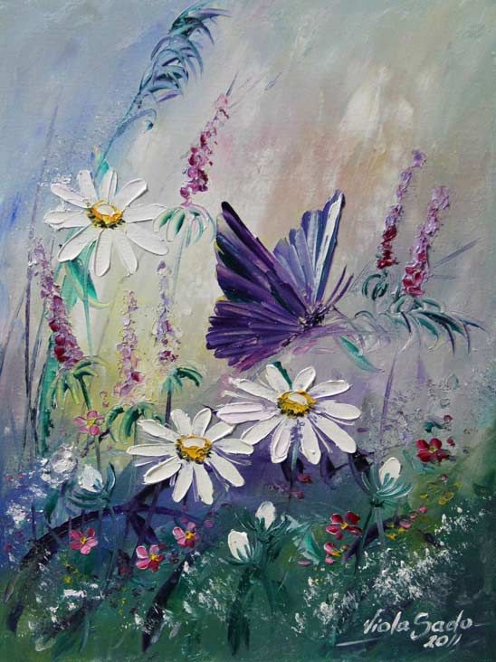 I just LOVE this butterfly and wildflowers painting! I have to paint this! By Viola Sado. Beautiful painting idea!