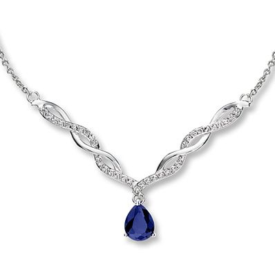 Teardrop Necklace Lab-Created Sapphire Sterling Silver