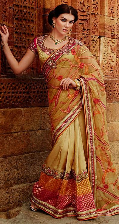 Beige Tussar Silk Wedding Saree