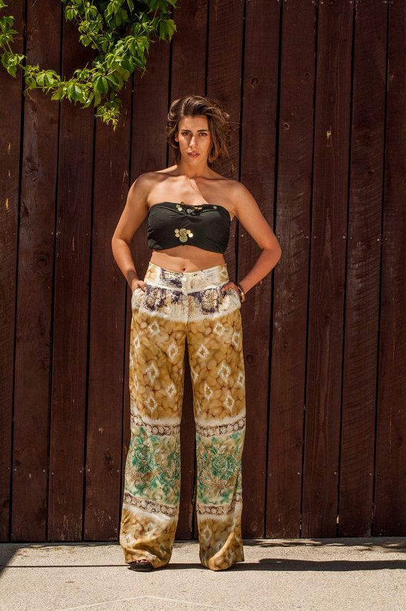 Printed Trousers, wide leg pants , loose pants with pockets, loose cut trousers, safari style pants on Etsy, $119.08