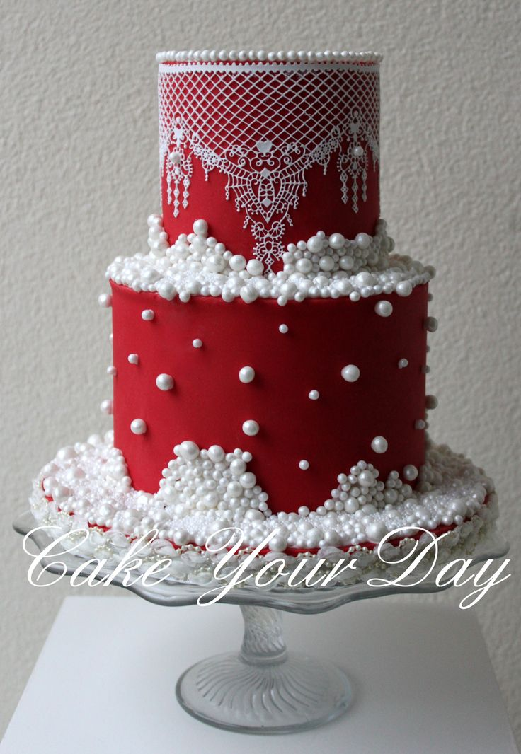 Round Wedding Cakes - The couple asked for a elegant winter themed wedding cake in red with lots and lots of pearls and no flowers!!