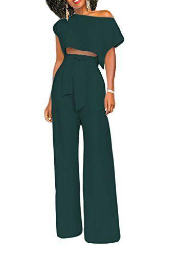 9072a9040f4 LKOUS Women s 2 Pieces Outfits High Waist Wide Leg Pants Crop Top Set  Ladies Jumpsuits
