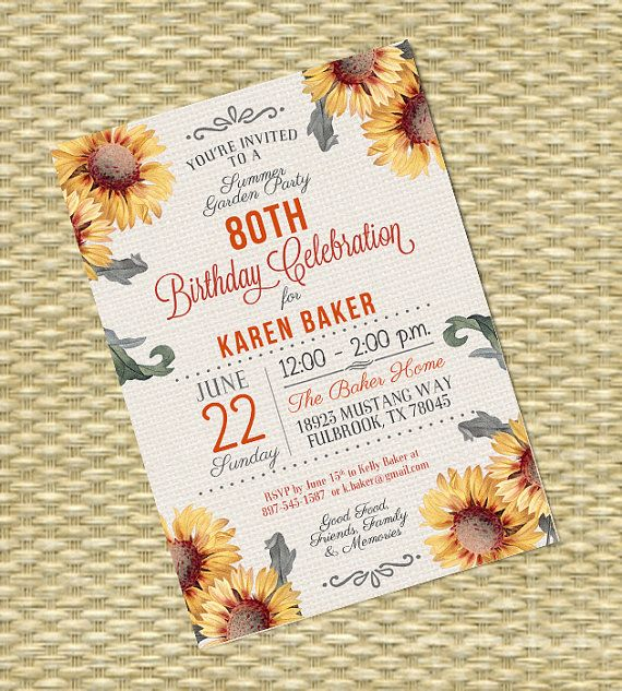 92 best adult birthday invitations milestone birthdays images on adult birthday invitation burlap and sunflower invitation 80th birthday invitation summer party invitation any event filmwisefo Choice Image