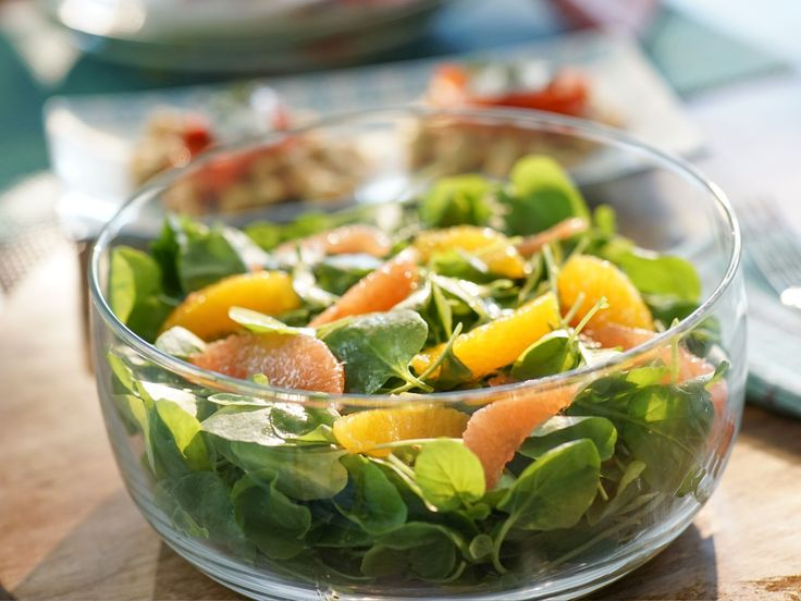 Watercress and Citrus Salad recipe from Valerie Bertinelli she segmented the fruit but made a dressing out of the juice on the show so segment fruit & squeeze juice in other bowl & make a dressing then she refrigerated the salad all prepared & the dressing seperate until ready to serve