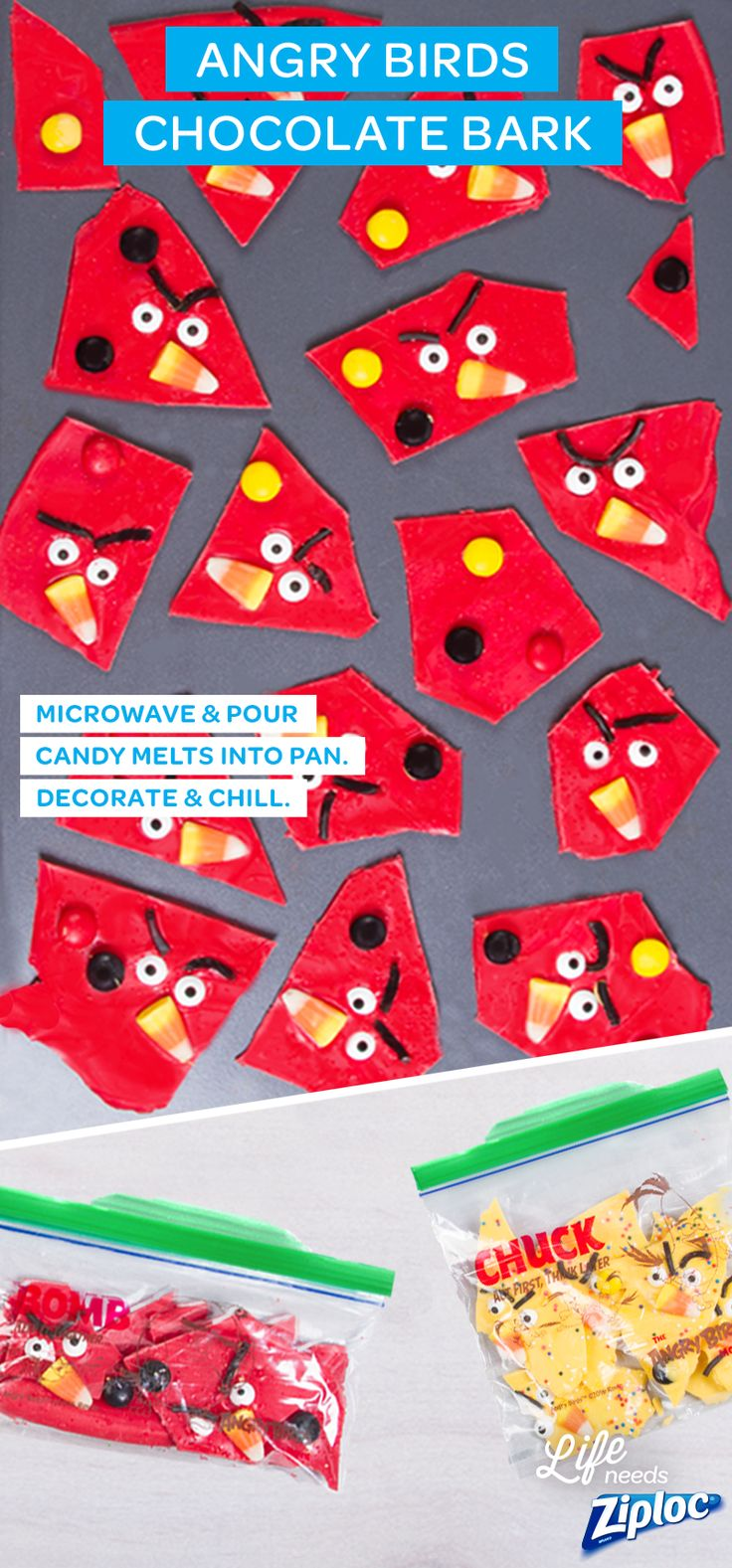 This Homemade Angry Birds chocolate bark recipe is so easy to make and perfect for any kids' party. Just buy red candy melts (look for them at crafting stores), candy corn, candy eyes, and black licorice. Heat the candy melts in the microwave then pour them onto a baking sheet and decorate. The mix sets in less than 30 minutes in the fridge. Pack the pieces in Ziploc® Angry Birds bags for an easy to-go snack. The Angry Birds Movie is in theaters now! ©2016 Rovio