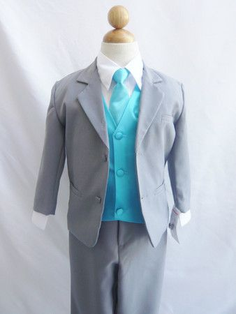 Share now. Experience the Fantastic Shopping Experience with Wallao-Boy Suit Gray with Turquoise Vest for Ring Bearer Long Tie Easter Wedding #wallaousa Visit us at http://www.brides-book.com for more great inspiration.