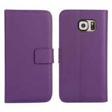 Samsung Galaxy S6 - Genuine Leather Flip Stand Protective Phone Cover Case Wallet - Purple