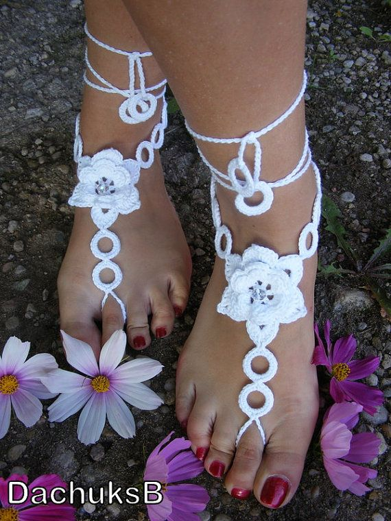 WHITE ROSES    handmade beautiful barefoot sandals in white color with Swarovski crystals (nr 21) on Etsy, $15.00
