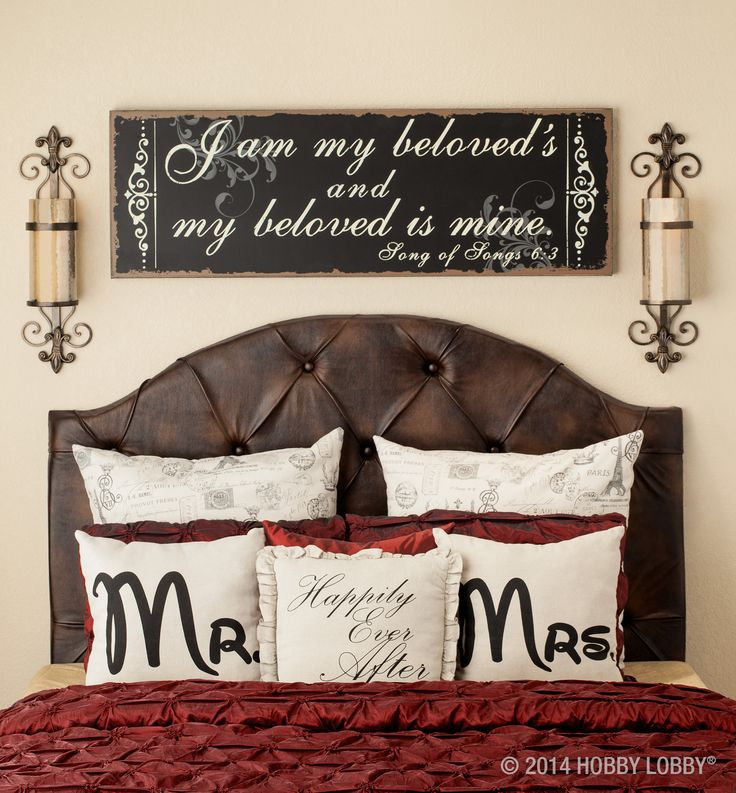 """Looking for a wedding or anniversary gift?  Go for sweet and thoughtful with """"Mr. & Mrs."""" and """"Happily ever after"""" pillows or """"I am my beloved'"""" wall art."""