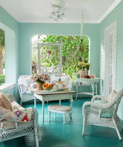 A lively paint job makes the floor an accent wall. The floor paint on this porch, a few shades darker than the watery blue-green walls, offers a fresh alternative to the usual gray. | Photo: Mark Lohman | thisoldhouse.com