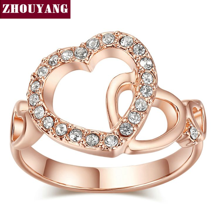 Top Quality ZYR154 ZYR155 Gold Romantic Dual Hearts Crystal Ring  Gold Plated  Austrian Crystals Full Sizes Wholesale