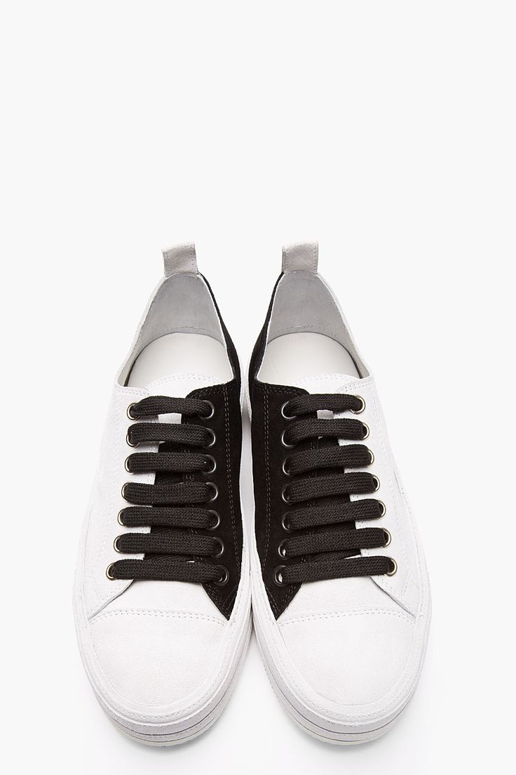 ANN DEMEULEMEESTER Grey Bi-Color Suede Low-Top Sneakers
