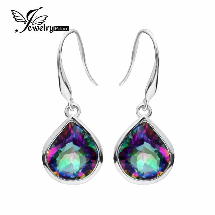 8.6ct Genuine Rainbow Fire Mystic Topaz Dangle Earrings 925 Solid Sterling Silver Sets Luxury Gift For Women Free Shipping www.bernysjewels.com #bernysjewels #jewels #jewelry #nice #bags