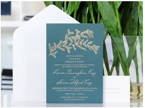We are so in love with one of our latest invitation designs! Gold foiling on dark emerald green card stock is simple but luxurious. #papercrush #foiling #loveit #invitations #foiled #gold #emerald #weddingstationery