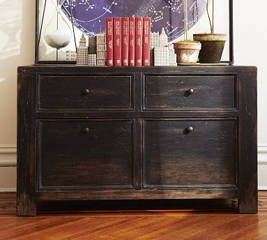 Office storage space inspo. Love against the lighter hardwood floors // Dawson Lateral File Cabinet #potterybarn