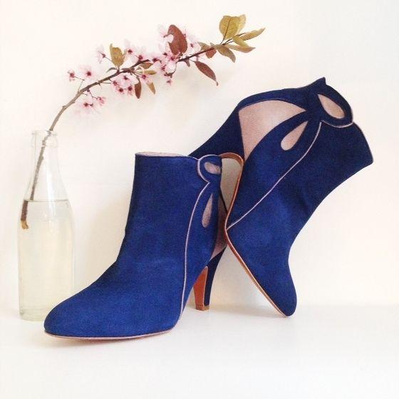 Boots MULOLAND bleu blue bottines love shoes addict mariage patricia blanchet