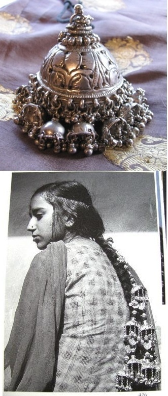 India | End of Hair braid ornament ~ Chhoti or Chunti ~ from Himachal Pradesh state | High grade Silver | ca. 19th century | Normally attached to three hanks of black silk or cotton thread, braided into the back-of-head braid, the ornament hanging at its end
