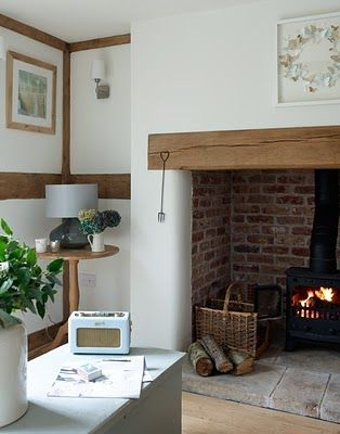 Open fireplace with stove