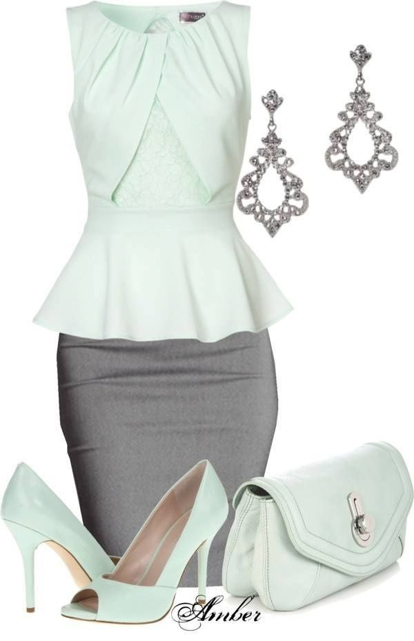 Elegant gray pencil skirt ...I'd wear grey shoes though.   TOO much green = easter egg, not chic.