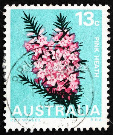 Postage Stamp Australia 1968 Pink Heath Victoria State Flower