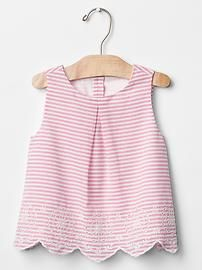 Stripe eyelet top