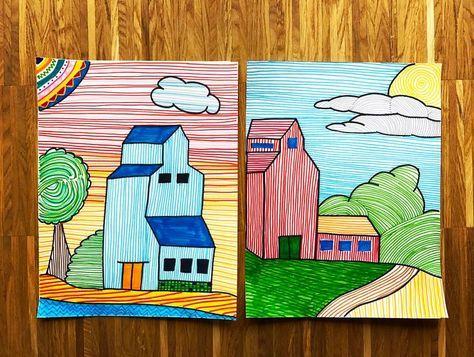 / kunst?oderkanndasweg / • • • • eine schnelle Idee für den Kunstunterricht: Strichzeichnung hierfür benötigt man ein DinA4 Blatt und Filzstifte. Die Konturen der Landschaft werden schwarz gemalt. Anschließend werden die Flächen mit waagerechten oder senkrechten Strichen ausgemalt. Es geht schnell und die Ergebnisse finde ich total schön ☀️ . . . #kunst #kunstunterricht #kunstindergrundschule #kunstlehrer #kinderkunst #istdaskunstoderkanndasweg #strichzeichnung #schnellekunststunde #leh...