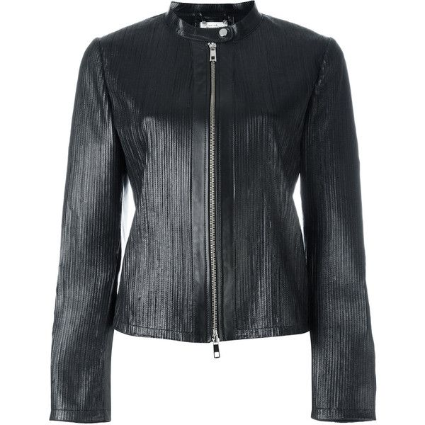Desa Collection ribbed detail zip up jacket ($705) ❤ liked on Polyvore featuring outerwear, jackets, black, real leather jackets, 100 leather jacket, leather jackets, zip up leather jacket and genuine leather jackets