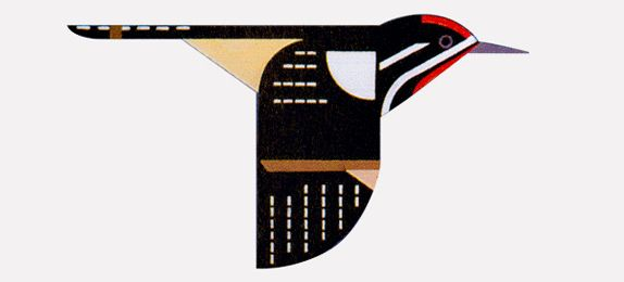 charlie harper art | Charley Harper's original drawing (top) and detail of icon.