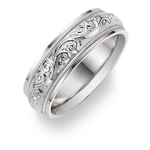 ApplesofGold.com - Silver Paisley Etched Wedding Band Ring Jewelry $249.00